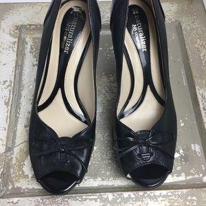 SZ 7.5 Peep Toe Bow Leather Naturalized Heels